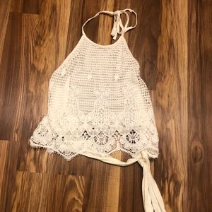 white crochet tied halter top